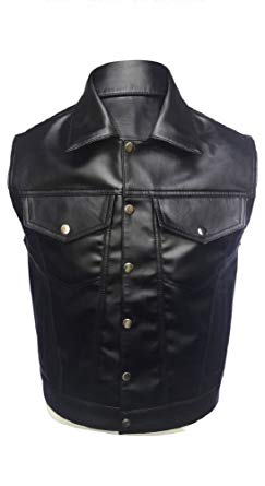 Olly And Ally Mens Real Cow Leather Black Motorcycle Biker Style Vest Waistcoat - (B13)