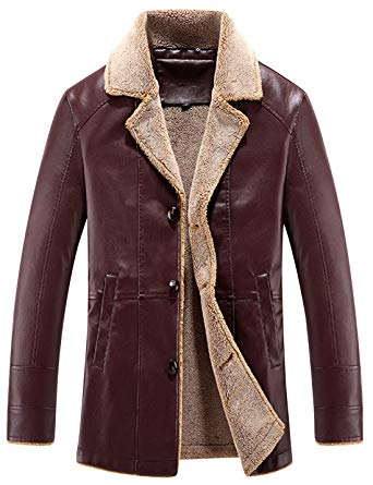 Tanming Men's Classic Sherpa Lined Faux Leather Jacket Outerwear