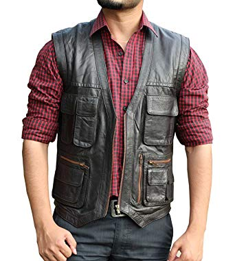 fjackets Chris Pratt Leather Vest - Jurassic World Brown Vest Men