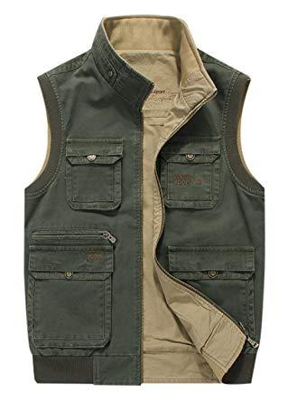 Gihuo Men's Reversible Cotton Leisure Outdoor Pockets Fish Photo Journalist Vest