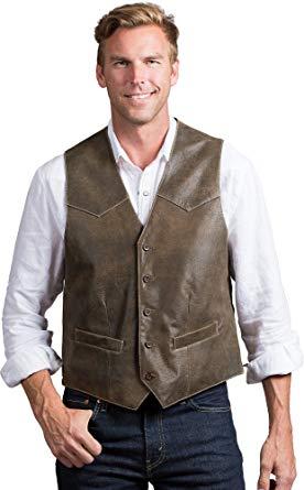 Overland Sheepskin Co Glenn Waxed Lambskin Leather Vest