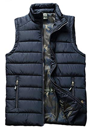 HOWON Mens Plus Size Solid Stand Collar Warm Padded Quilted Puffer Vest Jacket Coat