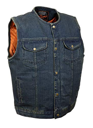 Milwaukee Men's Motorcycle Son of Anarchy Style Collar Less Club Denim Vest W/Gun Pockets