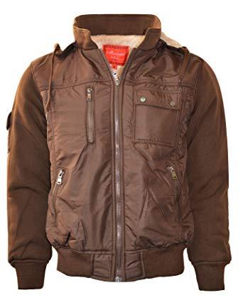 Maximos Men's Bomber Multi Pockets Jacket Zip Up With Hood Fleece Lined K2016