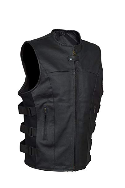 Men's SWAT Style Motorcycle Biker Leather vest with two concealed gun pockets