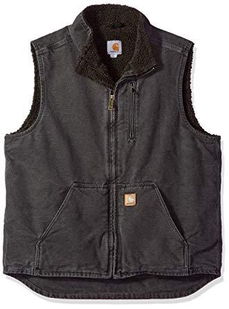 Carhartt Men's Tall Sherpa-Lined Sandstone Mock-Neck Vest V33